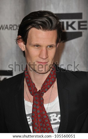 "LOS ANGELES, CA - OCTOBER 15, 2011: ""Dr. Who"" star Matt Smith at the 2011 Spike TV Scream Awards at Universal Studios, Hollywood. October 15, 2011  Los Angeles, CA - stock photo"