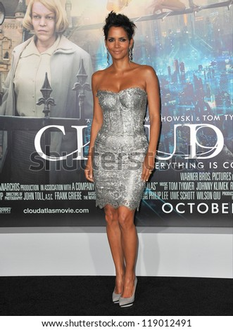 "LOS ANGELES, CA - OCTOBER 24, 2012: Halle Berry at the Los Angeles premiere of her new movie ""Cloud Atlas"" at Grauman's Chinese Theatre, Hollywood. - stock photo"