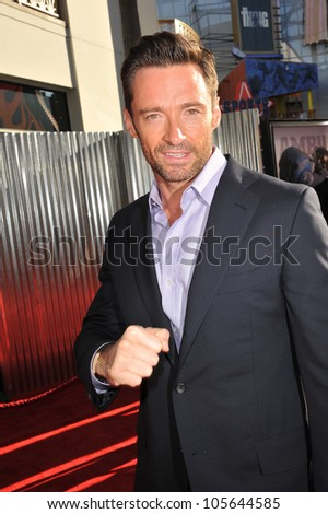 "LOS ANGELES, CA - OCTOBER 2, 2011: Hugh Jackman at the Los Angeles premiere of his new movie ""Real Steel"" at Universal Studios Hollywood. October 2, 2011  Los Angeles, CA - stock photo"