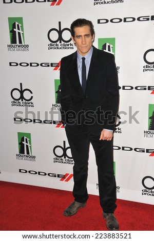 LOS ANGELES, CA - OCTOBER 13, 2013: Jake Gyllenhaal at the 17th Annual Hollywood Film Awards at the Beverly Hilton Hotel.