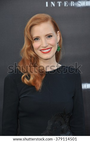 LOS ANGELES, CA - OCTOBER 26, 2014: Jessica Chastain at the Los Angeles premiere of her movie Interstellar at the TCL Chinese Theatre, Hollywood. - stock photo