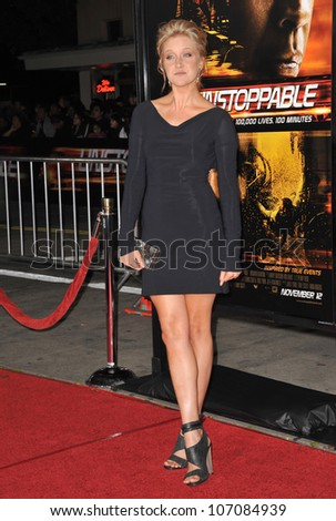 "LOS ANGELES, CA - OCTOBER 26, 2010: Jessy Schram at the world premiere of her new movie ""Unstoppable"" at the Regency Village Theatre, Westwood. - stock photo"