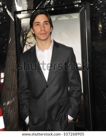 "LOS ANGELES, CA - OCTOBER 5, 2010: Justin Long at the premiere of ""Conviction"" at the Academy of Motion Picture Arts & Sciences in Beverly Hills."
