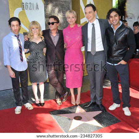 LOS ANGELES, CA - OCTOBER 29, 2014:  Kaley Cuoco & co-stars from The Big Bang Theory - Johnny Galecki, Jim Parsons, Simon Helberg, Kunal Nayyar & Melissa Rauch - at her star ceremony on Walk of Fame.  - stock photo