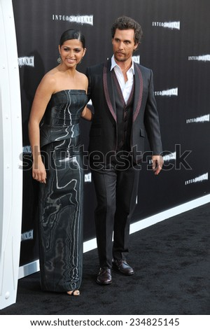 LOS ANGELES, CA - OCTOBER 26, 2014: Matthew McConaughey & wife Camila Alves McConaughey at the Los Angeles premiere of his movie Interstellar at the TCL Chinese Theatre, Hollywood.  - stock photo