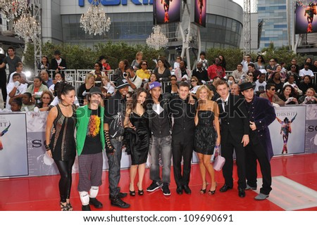 "LOS ANGELES, CA - OCTOBER 27, 2009: Michael Jackson's dancers at the premiere of Michael Jackson's ""This Is It"" at the Nokia Theatre, L.A. Live. - stock photo"