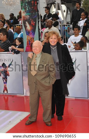 "LOS ANGELES, CA - OCTOBER 27, 2009: Mickey Rooney & wife Anne at the premiere of Michael Jackson's ""This Is It"" at the Nokia Theatre, L.A. Live. - stock photo"