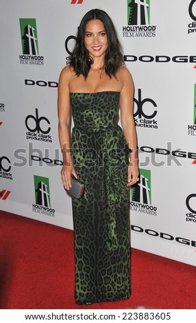 LOS ANGELES, CA - OCTOBER 13, 2013: Olivia Munn at the 17th Annual Hollywood Film Awards at the Beverly Hilton Hotel.  - stock photo