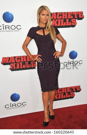 "LOS ANGELES, CA - OCTOBER 2, 2013: Paris Hilton at the Los Angeles premiere of ""Machete Kills"" at the Regal Cinemas LA Live.  - stock photo"