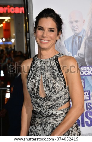 "LOS ANGELES, CA - OCTOBER 26, 2015: Sandra Bullock at the Los Angeles premiere of her movie ""Our Brand is Crisis"" at the TCL Chinese Theatre, Hollywood."
