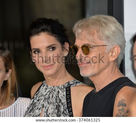 "LOS ANGELES, CA - OCTOBER 26, 2015: Sandra Bullock & Billy Bob Thornton at the Los Angeles premiere of their movie ""Our Brand is Crisis"" at the TCL Chinese Theatre, Hollywood.