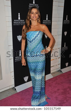 LOS ANGELES, CA - OCTOBER 23, 2011: Sofia Vergara at the 2011 Rodeo Drive Walk of Style gala honoring Italian fashion house Missoni & supermodel Iman, on Rodeo Drive October 23, 2011  Los Angeles, CA - stock photo