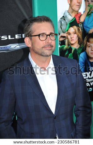 "LOS ANGELES, CA - OCTOBER 6, 2014: Steve Carell at the world premiere of his movie ""Alexander and the Terrible, Horrible, No Good, Very Bad Day"" at the El Capitan Theatre, Hollywood.  - stock photo"