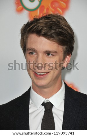 "LOS ANGELES, CA - OCTOBER 25, 2012: Thomas Mann at the Los Angeles premiere of his new movie ""Fun Size"" at the Paramount Theatre, Hollywood."