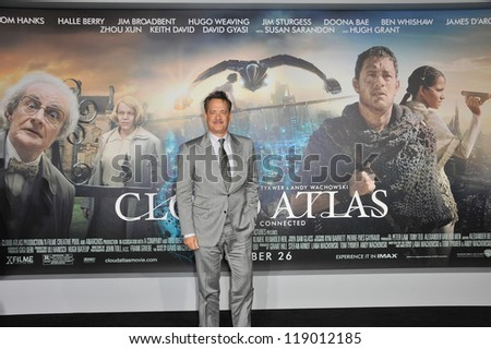 """LOS ANGELES, CA - OCTOBER 24, 2012: Tom Hanks at the Los Angeles premiere of his new movie """"Cloud Atlas"""" at Grauman's Chinese Theatre, Hollywood. - stock photo"""