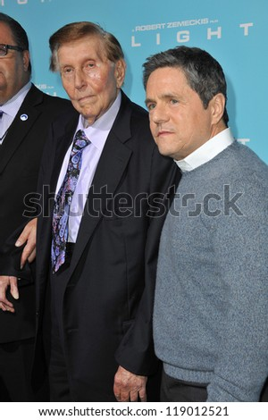 "LOS ANGELES, CA - OCTOBER 23, 2012: Viacom boss Sumner Redstone (left) & Paramount Pictures boss Brad Grey at the Los Angeles premiere of ""Flight"" at the Cinerama Dome, Hollywood."