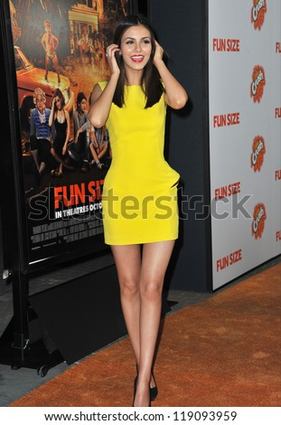 """LOS ANGELES, CA - OCTOBER 25, 2012: Victoria Justice at the Los Angeles premiere of her new movie """"Fun Size"""" at the Paramount Theatre, Hollywood. - stock photo"""