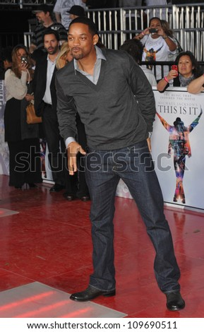 "LOS ANGELES, CA - OCTOBER 27, 2009: Will Smith at the premiere of Michael Jackson's ""This Is It"" at the Nokia Theatre, L.A. Live. - stock photo"