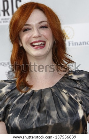 LOS ANGELES, CA - SEP 25: Christina Hendricks at the IRIS, A Journey Through the World of Cinema by Cirque du Soleil premiere September 25, 2011 at Kodak Theater in Los Angeles, California - stock photo