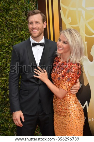 LOS ANGELES, CA - SEPTEMBER 12, 2015: Actress/dancer Julianne Hough & fiance Brooks Laich at the Creative Arts Emmy Awards 2015 at the Microsoft Theatre LA Live.  - stock photo