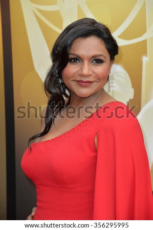 LOS ANGELES, CA - SEPTEMBER 12, 2015: Actress Mindy Kaling at the Creative Arts Emmy Awards 2015 at the Microsoft Theatre LA Live.