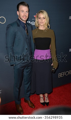 "LOS ANGELES, CA - SEPTEMBER 2, 2015: Alice Eve & Chris Evans at the Los Angeles premiere of their movie ""Before We Go"" at the Arclight Theatre, Hollywood."