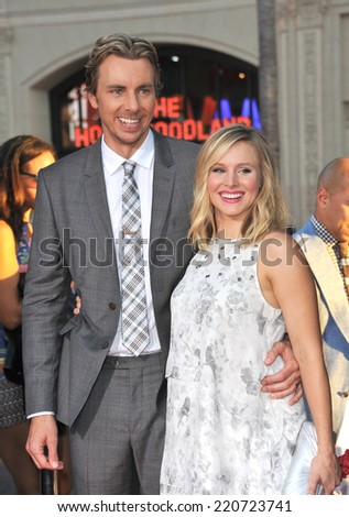 """LOS ANGELES, CA - SEPTEMBER 15, 2014: Dax Shepard & wife Kristen Bell at the Los Angeles premiere of his movie """"This Is Where I Leave You"""" at the TCL Chinese Theatre, Hollywood.  - stock photo"""