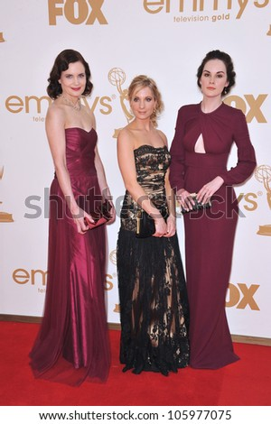 LOS ANGELES, CA - SEPTEMBER 18, 2011: Downton Abbey stars Elizabeth McGovern, Joanne Froggatt & Michelle Dockery at the 2011 Emmy Awards at the Nokia Theatre L.A. Live - stock photo