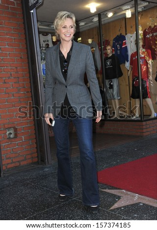 LOS ANGELES, CA - SEPTEMBER 4, 2013: Glee star Jane Lynch on Hollywood Blvd where she was honored with the 2,505th star on the Hollywood Walk of Fame.