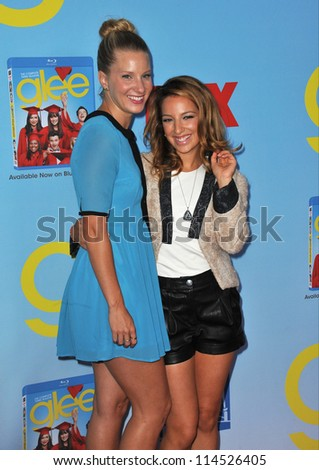 """LOS ANGELES, CA - SEPTEMBER 12, 2012: Heather Morris & Vanessa Lengies (right) at the season four premiere of """"Glee"""" at Paramount Studios, Hollywood. - stock photo"""