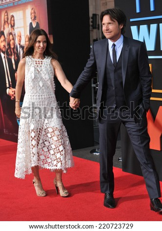 """LOS ANGELES, CA - SEPTEMBER 15, 2014: Jason Bateman & wife Amanda Anka at the Los Angeles premiere of his movie """"This Is Where I Leave You"""" at the TCL Chinese Theatre, Hollywood.  - stock photo"""