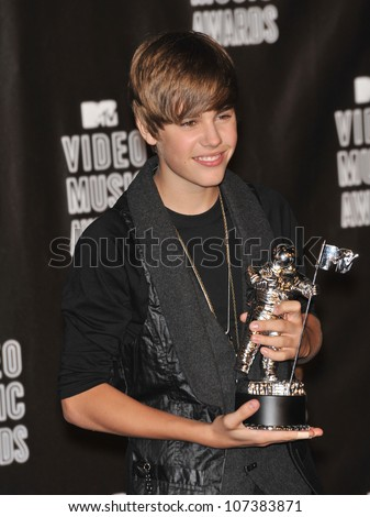 LOS ANGELES, CA - SEPTEMBER 12, 2010: Justin Bieber at the 2010 MTV Video Music Awards at the Nokia Theatre L.A. Live in downtown Los Angeles. - stock photo