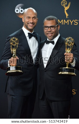 LOS ANGELES, CA. September 18, 2016: Keegan-Michael Key & Jordan Peele at the 68th Primetime Emmy Awards at the Microsoft Theatre L.A. Live.