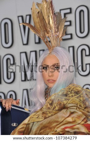 LOS ANGELES, CA - SEPTEMBER 12, 2010: Lady GaGa at the 2010 MTV Video Music Awards at the Nokia Theatre L.A. Live in downtown Los Angeles. - stock photo
