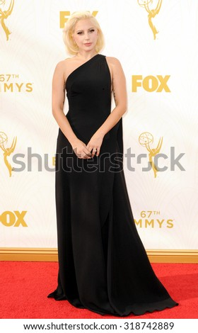 LOS ANGELES, CA - SEPTEMBER 20, 2015: Lady Gaga at the 67th Annual Primetime Emmy Awards held at the Microsoft Theater in Los Angeles, USA on September 20, 2015. - stock photo