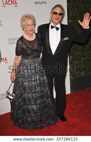 LOS ANGELES, CA - SEPTEMBER 25, 2010: Michael York & wife Pat at a benefit gala at  LACMA for the opening of  The Lynda & Stewart Resnick Exhibition Pavilion in Los Angeles, CA.