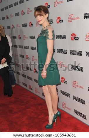 "LOS ANGELES, CA - SEPTEMBER 21, 2011: Michelle Monaghan at the premiere ""Machine Gun Preacher"" at the Samuel Goldwyn Theatre. September 21, 2011  Los Angeles, CA - stock photo"