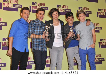 LOS ANGELES, CA - SEPTEMBER 6, 2012: One Direction at the 2012 MTV Video Music Awards at the Staples Center, Los Angeles.