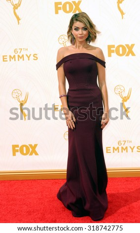 LOS ANGELES, CA - SEPTEMBER 20, 2015: Sarah Hyland at the 67th Annual Primetime Emmy Awards held at the Microsoft Theater in Los Angeles, USA on September 20, 2015. - stock photo