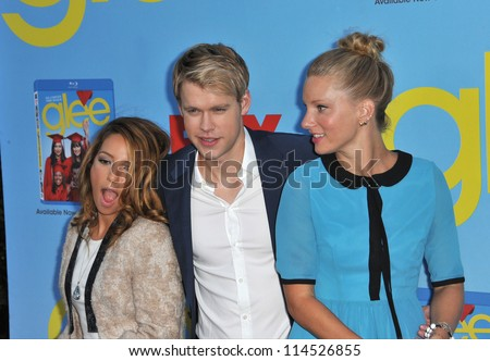 "LOS ANGELES, CA - SEPTEMBER 12, 2012: Vanessa Lengies (left), Chord Overstreet & Heather Morris at the season four premiere of ""Glee"" at Paramount Studios, Hollywood. - stock photo"