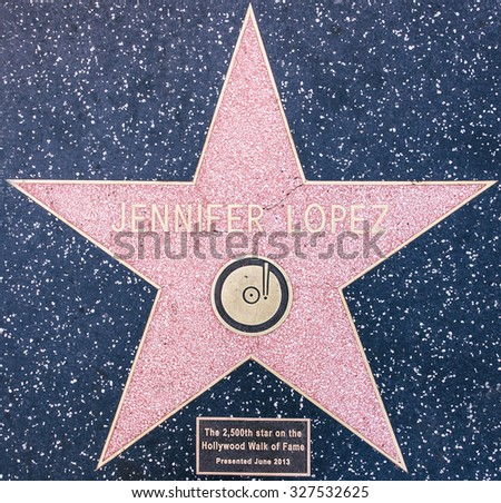 Los angeles, CA. 12th october, 2015. Jennifer Lopez star on the Walk of fame, Hollywood. also known as J. Lo, is an American actress, author, fashion designer, dancer, producer, and singer - stock photo