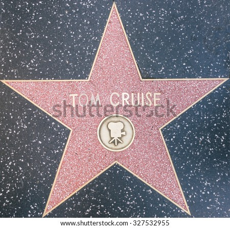 Los Angeles, CA. 8th october, 2015. Tom Cruise star on the Walk of fame, Hollywood. Cruise has been nominated for three Academy Awards and has won three Golden Globe Awards. - stock photo