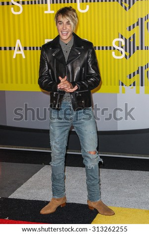 LOS ANGELES, CA/USA - AUGUST 30 2015: Justin Bieber attends the 2015 MTV Video Music Awards at Microsoft Theater. - stock photo