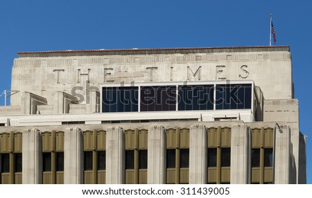 LOS ANGELES, CA/USA - AUGUST 29, 2015: Los Angeles Time building. The Los Angeles Times, commonly referred to as the Times, is a paid daily newspaper. - stock photo