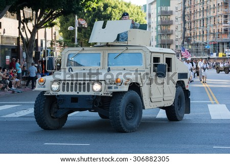 Los Angeles, CA - USA - August 16, 2015:  Military vehicle with veterans