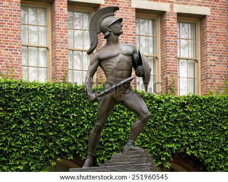 LOS ANGELES, CA/USA - FEBRUARY 7, 2015: Tommy Trojan on the campus of the University of California.