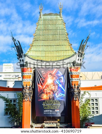 Los Angeles, CA, USA . January 16, 2016: hollywood boulevard View Grauman's Chinese Theater on Hollywood Boulevard. The theater has hosted numerous premieres and events since it opened in 1927. - stock photo