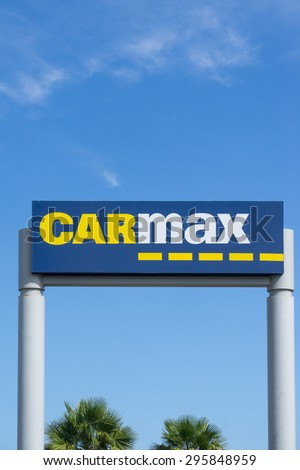 LOS ANGELES, CA/USA - JULY 11, 2015: Carmax dealership sign and logo. CarMax is the United States' largest used-car retailer and a Fortune 500 company.