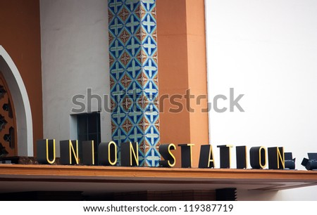 LOS ANGELES, CA./USA -  MAY 28: Los Angeles Union Station is the main railroad station in Los Angeles, CA.  It is on the National Register of Historic Places.  Los Angeles, CA. MAY 28,2010. - stock photo