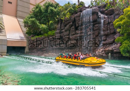 LOS ANGELES, CA/USA - MAY 24: The Jurassic park ride at Universal studios hollywood on May 24, 2015 in Los Angeles, CA, USA. - stock photo